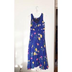 Vintage buttoned down floral maxi dress sz:M blue